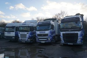 Burden Transport trucks parked at new operating centre